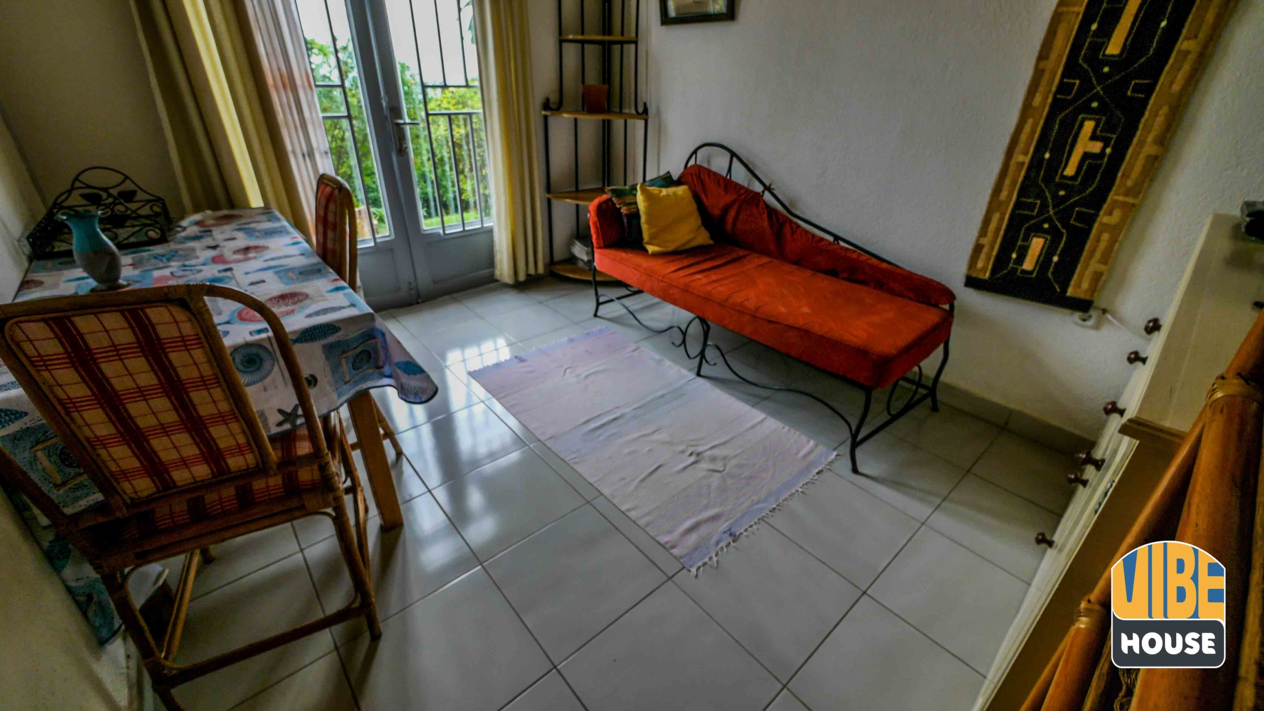 Living room in studio apartment for rent in Kigali