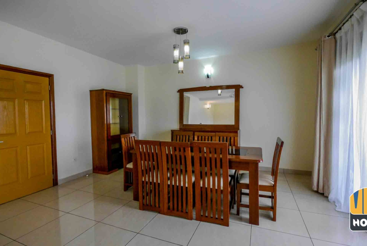 Dining area in house for rent with pool in Kibagabaga, Kigali