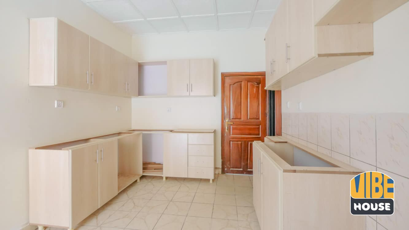Modern Kitchen with cabinets in Gisozi home rental, Kigali
